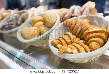 Fresh croissants in the shop