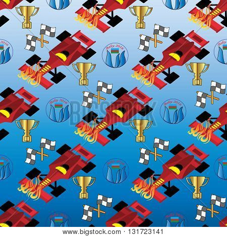 Seamless pattern from formula1 elements, racing car, flags, gold cup and Baku symbol. (Can be repeated and scaled in any size.)