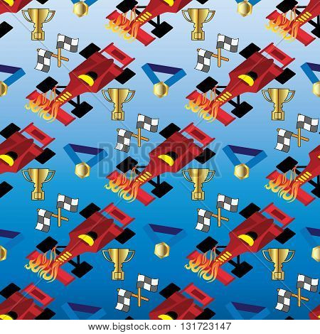 Seamless pattern from Formula1, racing car, flags, gold cup and medal. (Can be repeated and scaled in any size.)