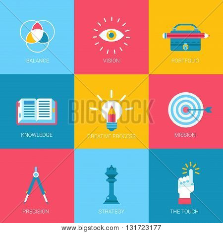 Flat icons set creative portfolio design digital art web click infographics style vector illustration concept collection.