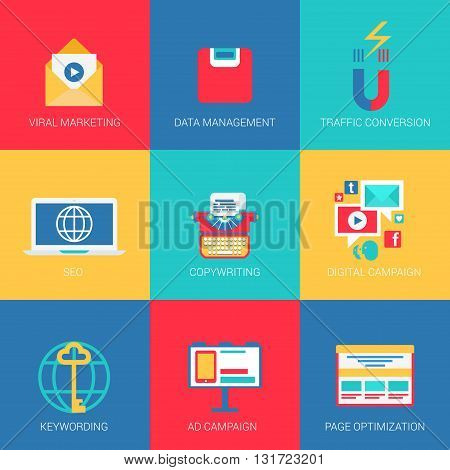 Flat icons set SEO viral marketing data management keywording copywriting digital advertisement campaign page optimization web click infographics style vector illustration concept collection.