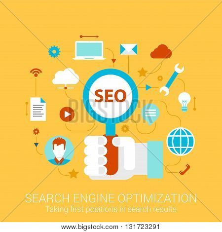 Modern flat design concept for SEO search engine optimization hand holding magnifier and vector web banners illustration print materials website click infographics elements collection.