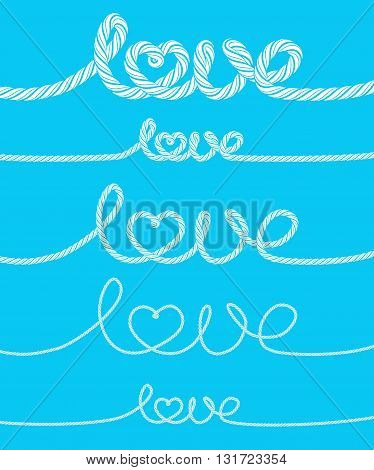 Set of love rope inscriptions on blue background