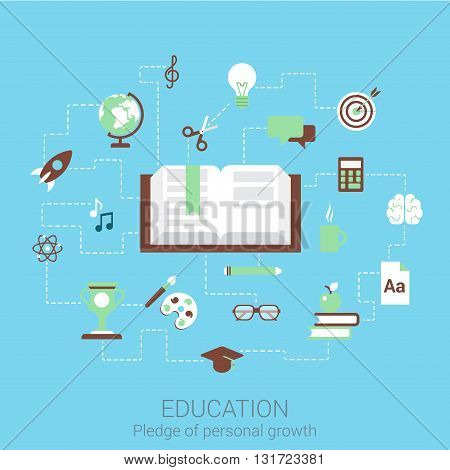 Modern flat design concept for education knowledge training study and vector web banners illustration print materials website click infographics elements collection.