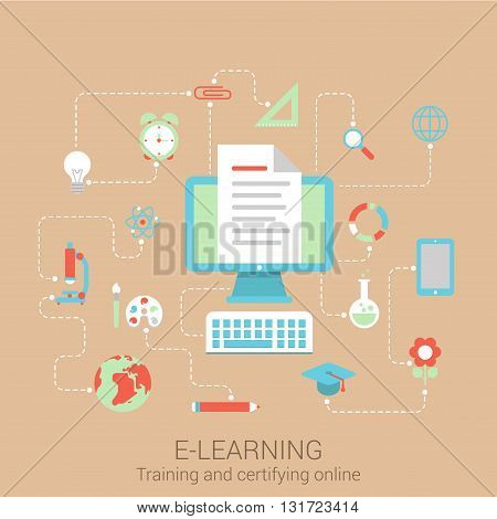 Modern flat design concept for e-learning knowledge education study online courses and vector web banners illustration print materials website click infographics elements collection.