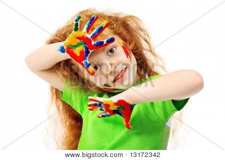 Portrait of a cute girl enjoying her painting. Education. Isolated over white background.