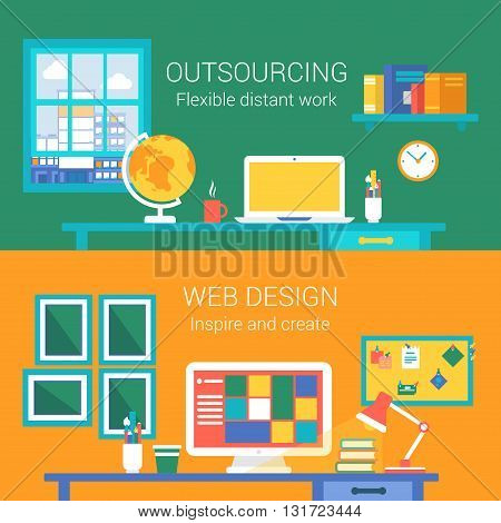 Web design outsourcing distant work concept flat icons set of telework home workplace webdesigner office vector web banners illustration print materials website click infographics elements collection.