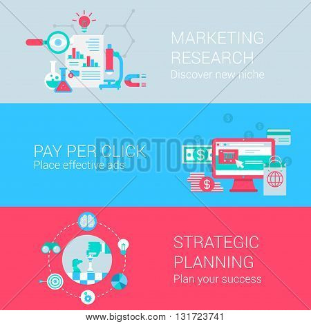 Marketing research pay per click advertisement strategic planning concept flat icons set vector web banners illustration print materials website click infographics elements collection.