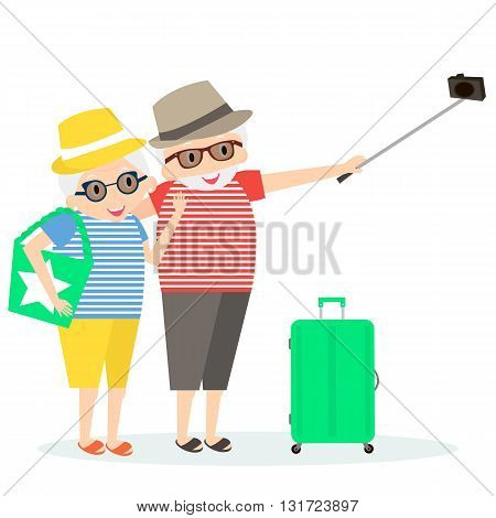 Seniors happy traveling. Grandmother and grandfather on trip. Oldest people with Selfie stick and suitcase on trip. Vector illustration