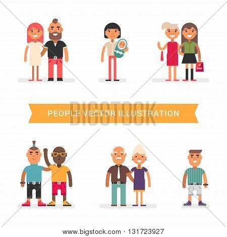 People of different age and status.. Couples friends single. a set of colored flat vector illustration isolated on white background