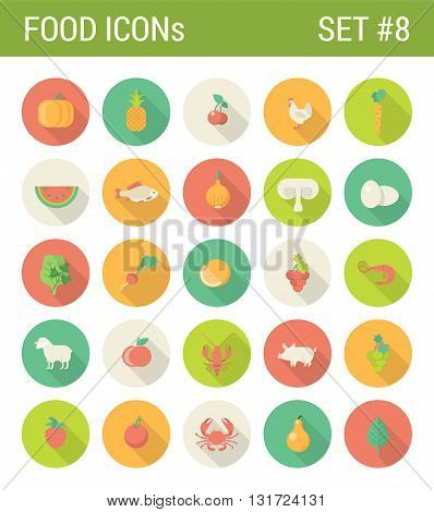 Food vegetables flat icons set restaurant cafe bar menu template organic web click infographics style vector illustration concept collection.