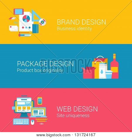 Branding package design concept flat icons set of identity product box site creation and vector web banners illustration print materials website click infographics elements collection.