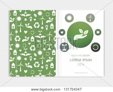 Eco Background Brochre. Cover design for Brochure leaflet flyer annual report. Abstract background with . Blurred background A4 size. Vector EPS 10