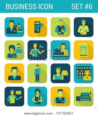 Business flat icons set businessman support office consultant staff