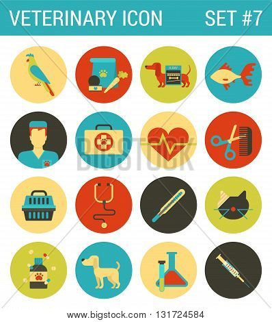 Veterinary medicine flat icons set animal medical service