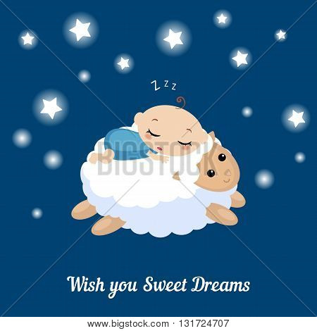 Vector illustration of a baby sleeping on the lamb. I wish you sweet dreams.