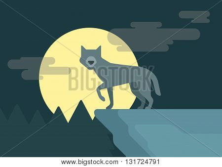 Flat design cartoon vector wild animals wolf rock roof full moon
