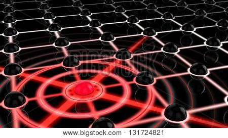Network with black spheres and one red node spreading out infecting the other internet security concept 3D illustration