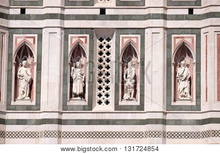 FLORENCE, ITALY - JUNE 05: The Beardless Prophet, The Bearded Prophet, Abraham Sacrificing Isaac, The Thinker, Campanile (Bell Tower) of Cattedrale di Santa Maria del Fiore, Florence, on June 05, 2015