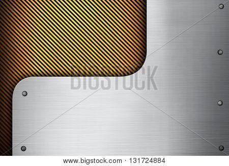 metal design with warning stripe background