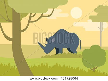 Rhino savanna flat design cartoon vector wild animals