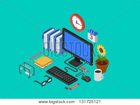 Flat 3d isometric concept vector infographics office workplace