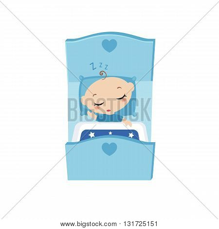 Illustration of a little boy sleeping on a white background.