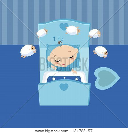 Cute boy sleeping in the bed. Cartoon vector illustration.