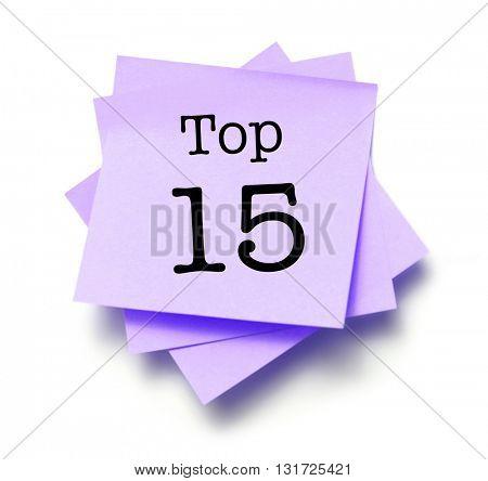 Top 15 written on a note
