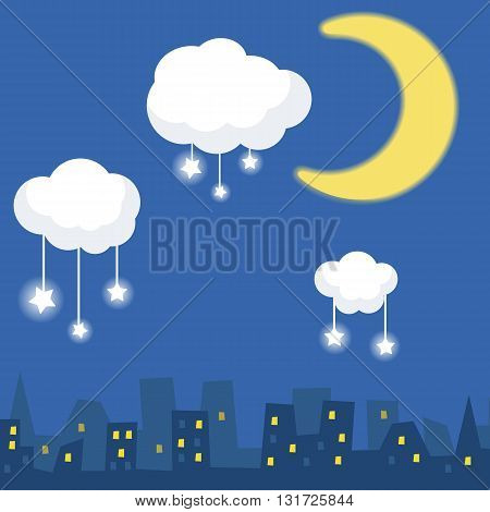 Cartoon illustration of silhouette houses under a starry sky. Sky moon and stars.