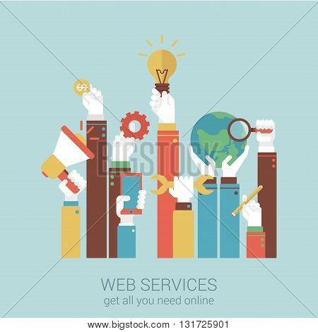 Online internet services flat style vector illustration concept