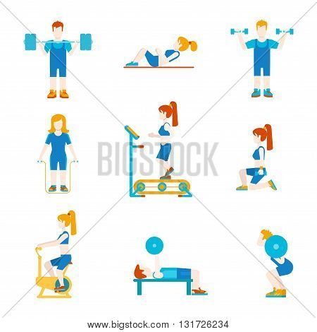 Flat style sports workout people figures infographics user icons