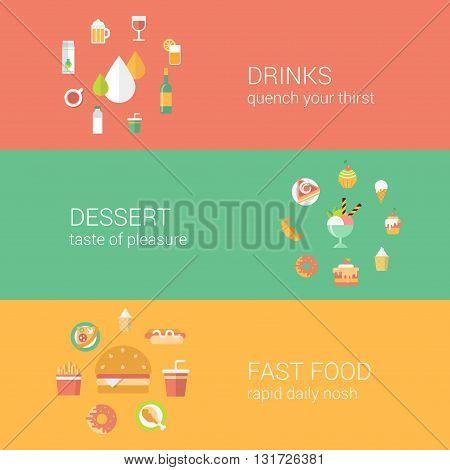 Food restaurant menu concept flat icons vector web infographics