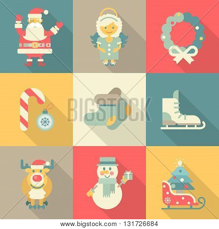Christmas New Year icon set flat style cartoon funny Santa angel