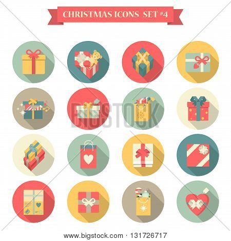 Christmas New Year icon set flat style shopping bag gift box