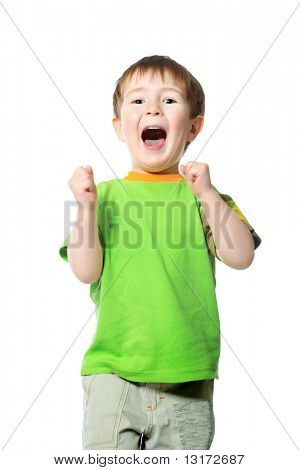 Shot of a shouting little boy. Isolated over white background.
