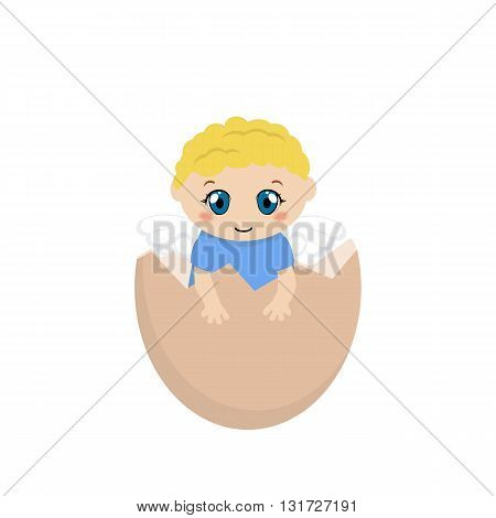 Illustration of a cracked hen's egg with baby inside on a white background.
