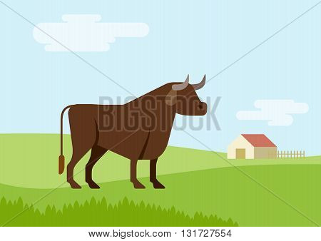 Bull farm grass field habitat flat cartoon vector farm animals