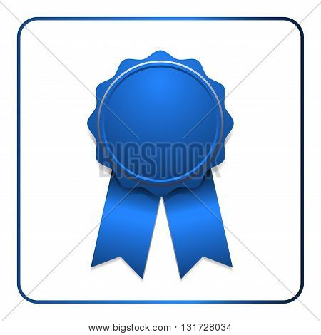 Ribbon award icon. Blue badge isolated on white background. Medal design element. Label emblem. Blank certificate winner or prize decoration. Symbol first victory success win. Vector illustration