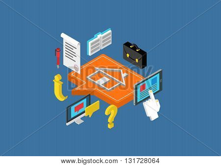 Flat 3d isometric concept vector web infographic real estate