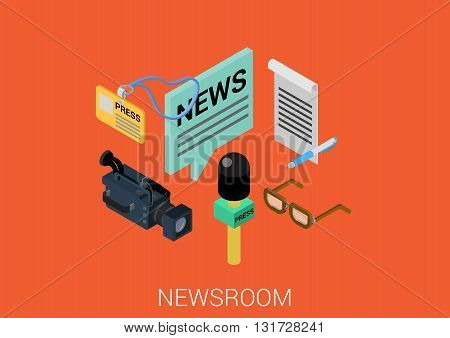 News room media flat 3d isometric vector infographic