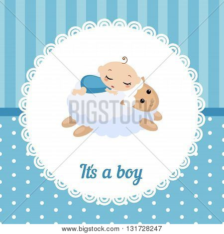 Cute baby boy card. Vector illustration of a baby sleeping on the lamb.