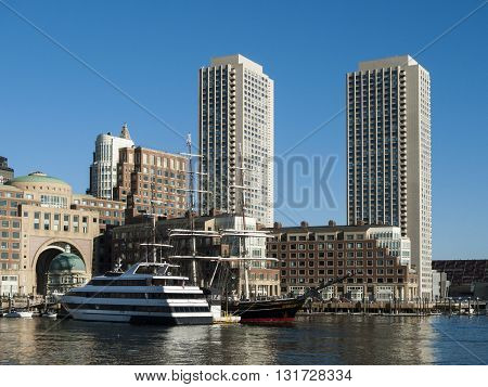 Boston Massachusetts USA - April 21 2016: Morning view of Rowes Wharf from Fan Pier along Boston watefront