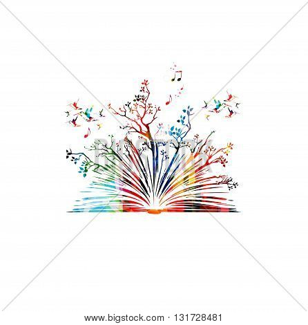 Vector illustration of colorful book with trees and hummingbirds