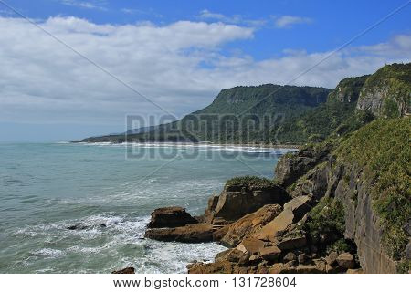West coast of the South Island. Scene in Punakaiki New Zealand.