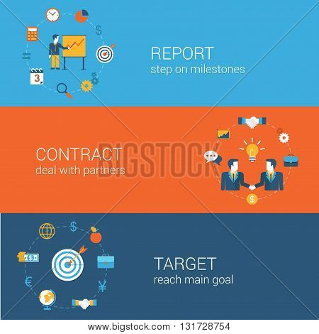 Business marketing concept flat icons banners template set