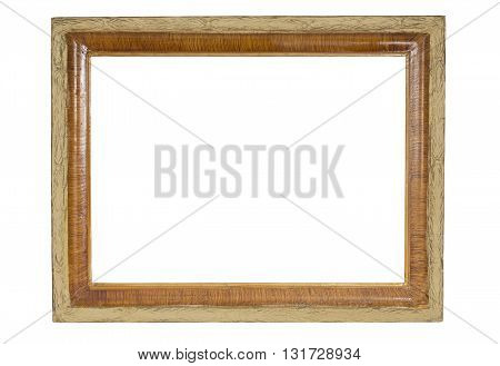 Vintage wooden vintage frame isolated on white background. for your picture photo image. Beautiful old-fashioned background