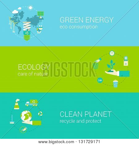 Green energy ecology eco clean planet flat web banners set
