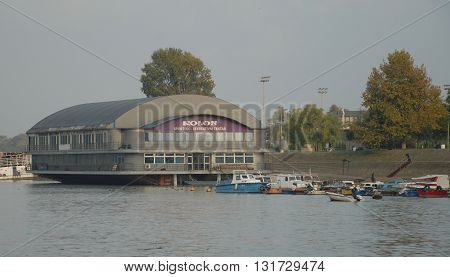 BELGRADE/SERBIA-OCTOBER 23, 2015: Kolos Sport/Recreation Center on the Sava River. October 23, 2015-Belgrade/Serbia