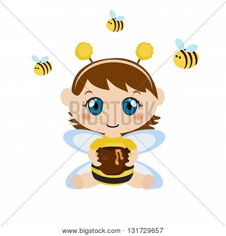 Baby dressed as bee. Child holding a honey pot. Background with bee.